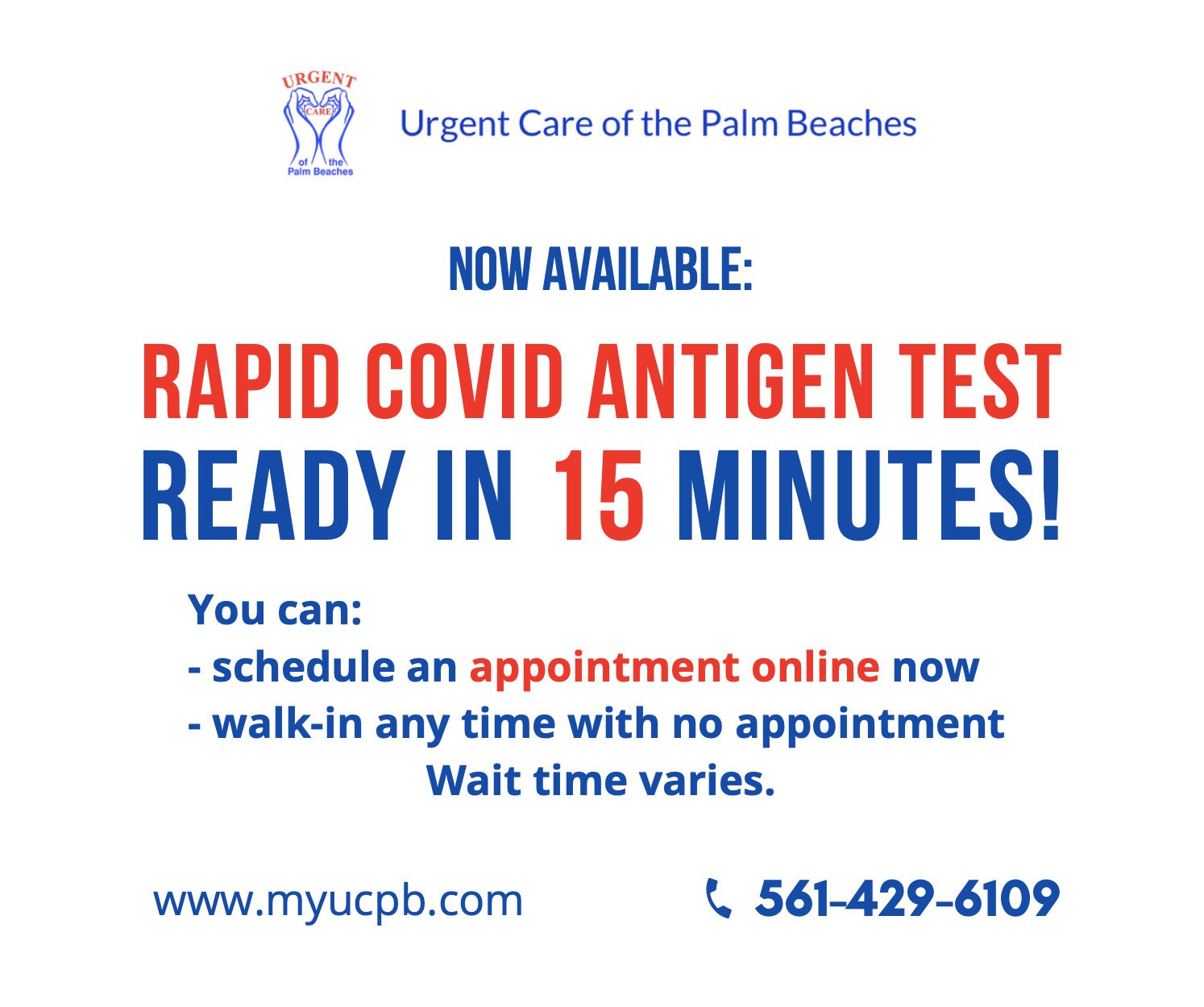 Now Available Rapid Covid Antigen Test Urgent Care Of The Palm Beaches